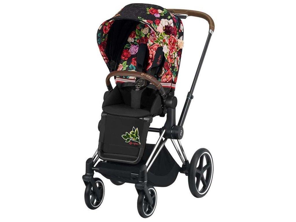 Kočárek CYBEX Priam Lux Seat Fashion Spring Blossom 2021, podvozek Chrome Brown - Dark