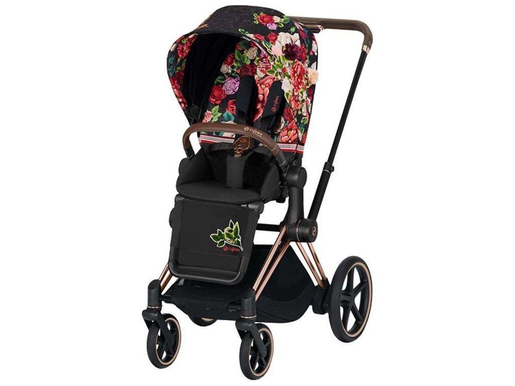 Kočárek CYBEX Priam Lux Seat Fashion Spring Blossom 2021, podvozek Rosegold - Dark