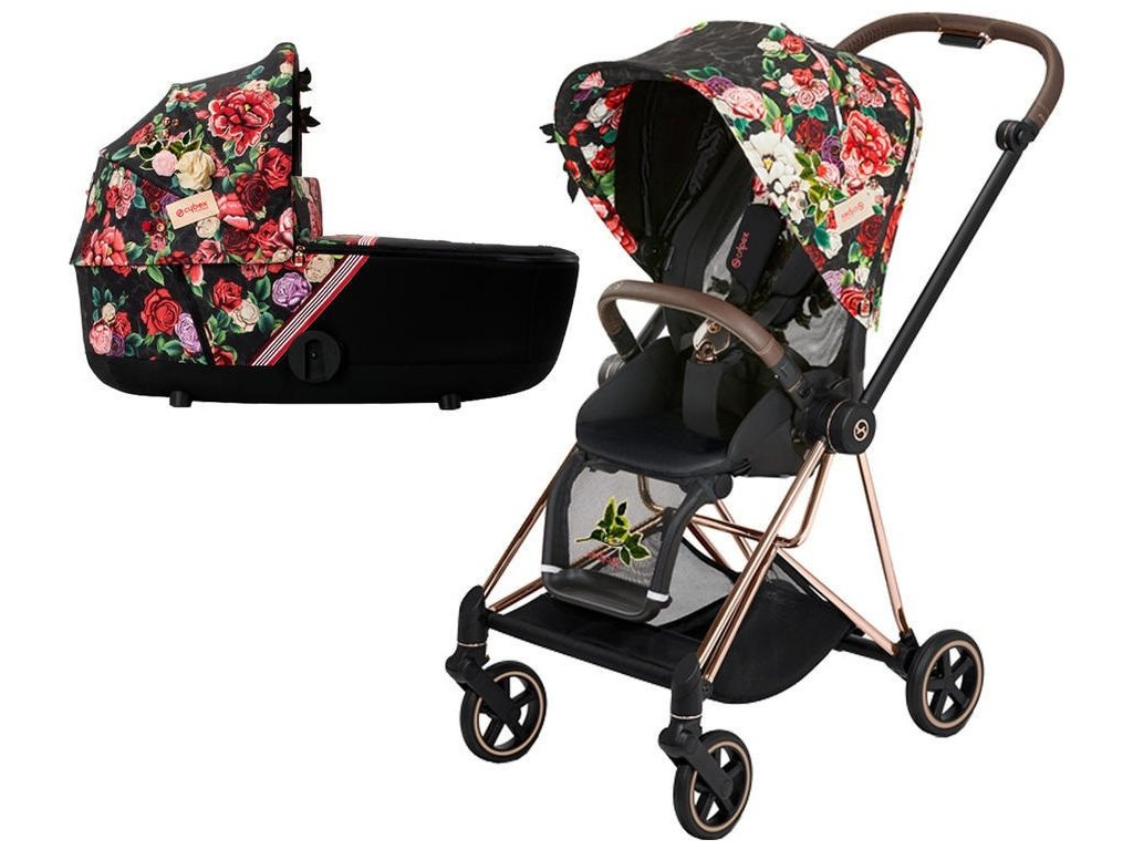 Kočárek CYBEX Mios Seat Pack Fashion Spring Blossom 2021 včetně korby, podvozek mios Rosegold - Dark