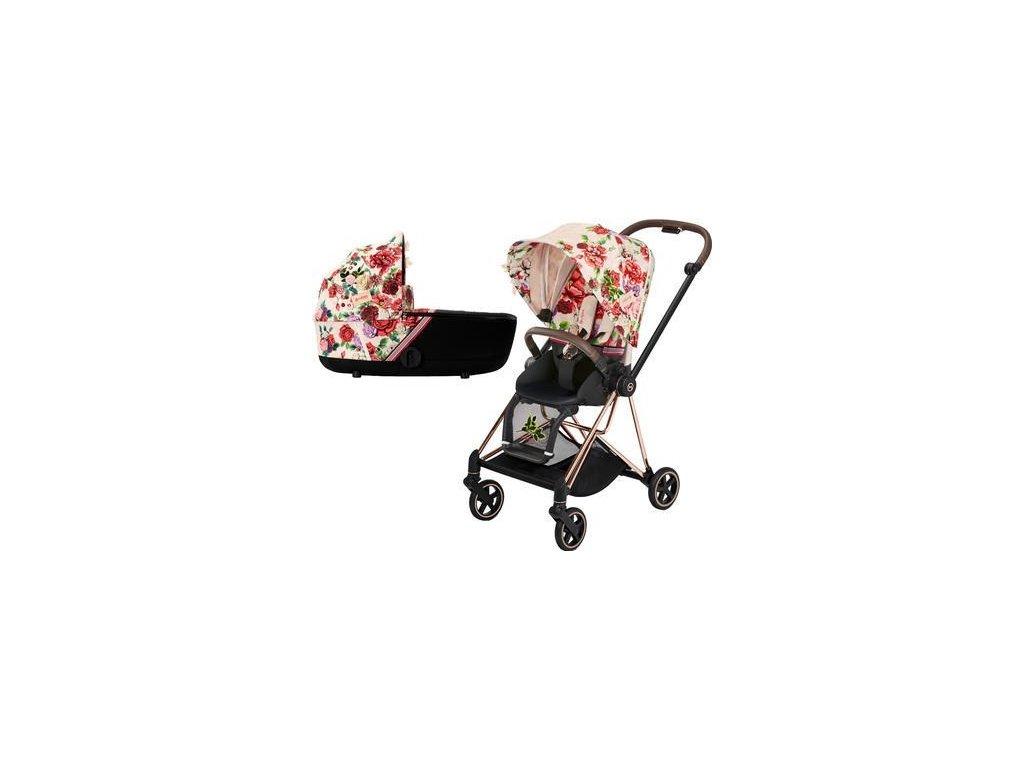 Kočárek CYBEX Mios Seat Pack Fashion Spring Blossom 2021 včetně korby, podvozek mios Rosegold - Light
