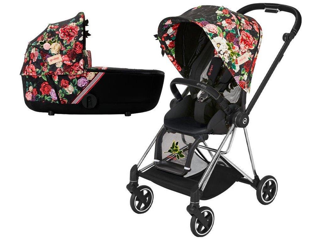 Kočárek CYBEX Mios Seat Pack Fashion Spring Blossom 2021 včetně korby, podvozek mios Chrome Black - Dark
