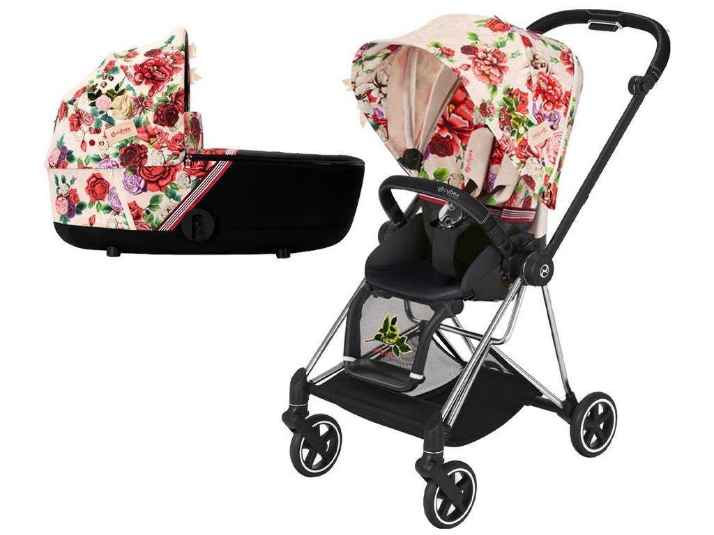 Kočárek CYBEX Mios Seat Pack Fashion Spring Blossom 2021 včetně korby, podvozek mios Chrome Black - Light