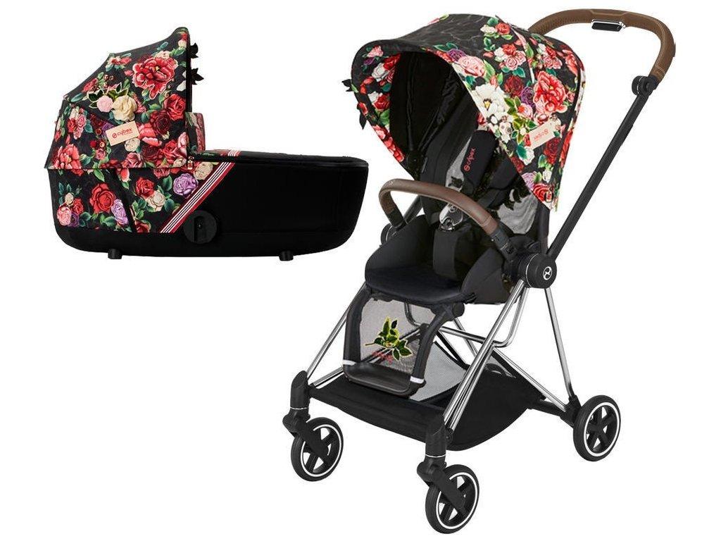 Kočárek CYBEX Mios Seat Pack Fashion Spring Blossom 2021 včetně korby, podvozek mios Chrome Brown - Dark
