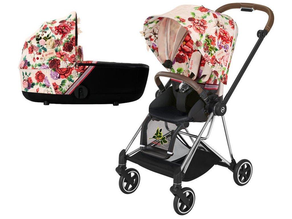 Kočárek CYBEX Mios Seat Pack Fashion Spring Blossom 2021 včetně korby, podvozek mios Chrome Brown - Light