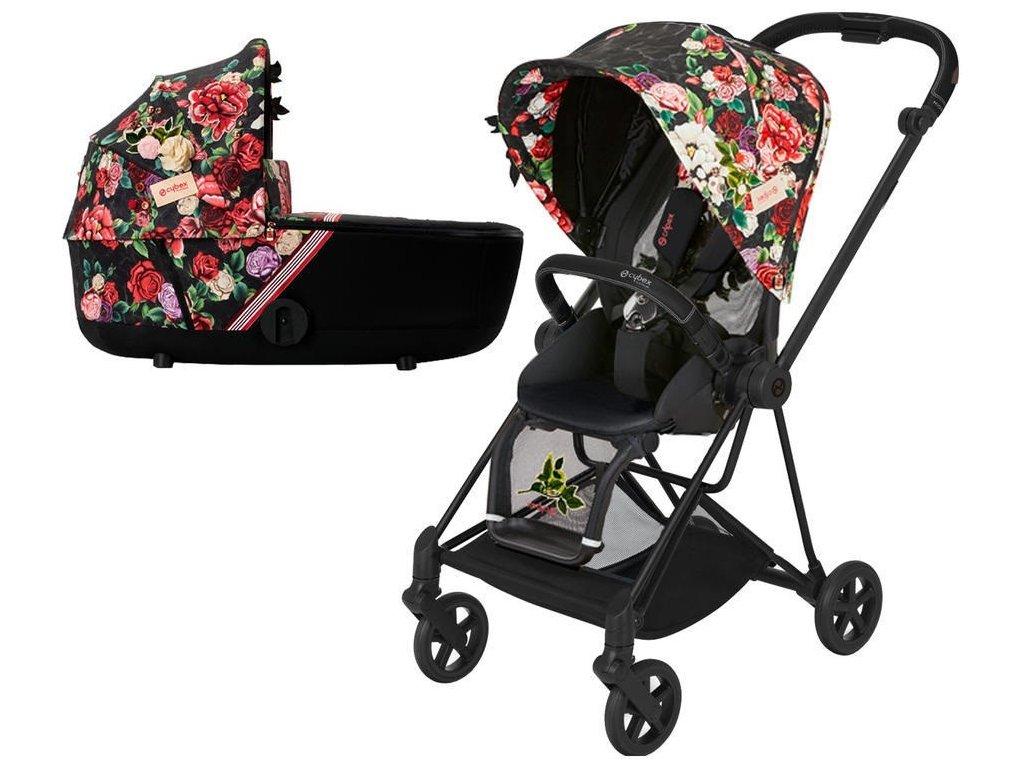 Kočárek CYBEX Mios Seat Pack Fashion Spring Blossom 2021 včetně korby, podvozek mios Matt Black - Dark