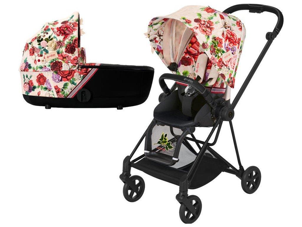 Kočárek CYBEX Mios Seat Pack Fashion Spring Blossom 2021 včetně korby, podvozek mios Matt Black - Light