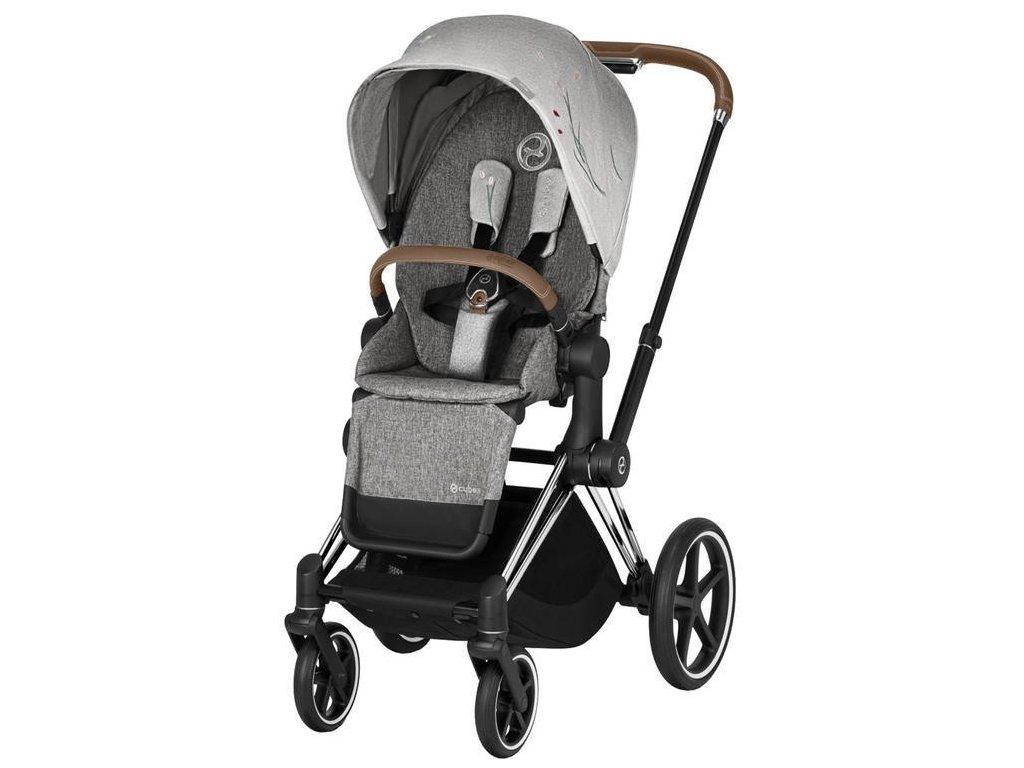 Kočárek CYBEX Priam Lux Seat Fashion Koi 2020, podvozek Priam - Chrome Brown