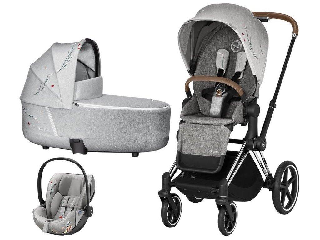 Kočárek CYBEX Set Priam Lux Seat Fashion Koi 2020 včetně autosedačky, podvozek Priam - Chrome Brown