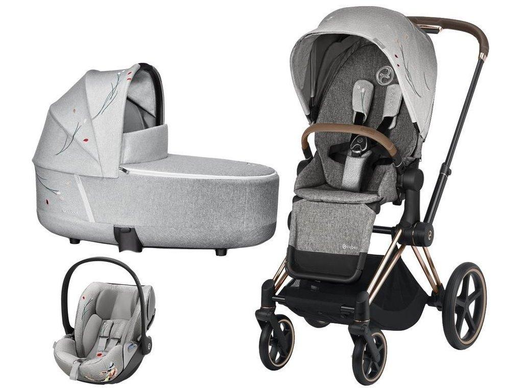 Kočárek CYBEX Set Priam Lux Seat Fashion Koi 2020 včetně autosedačky, podvozek Priam - Rosegold