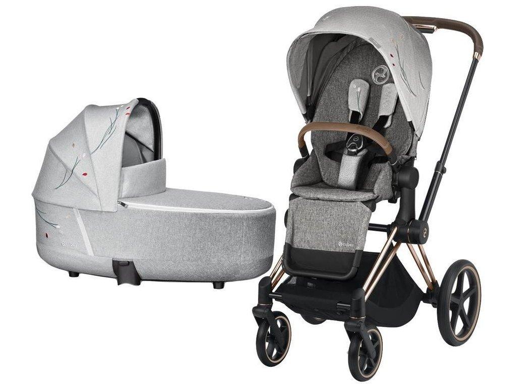 Kočárek CYBEX Priam Lux Seat Fashion Koi 2020 včetně korby, podvozek Priam - Rosegold