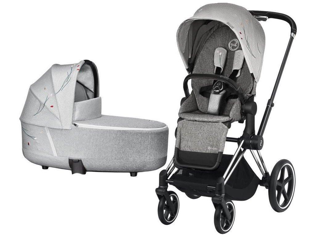 Kočárek CYBEX Priam Lux Seat Fashion Koi 2020 včetně korby, podvozek Priam - Chrome Black