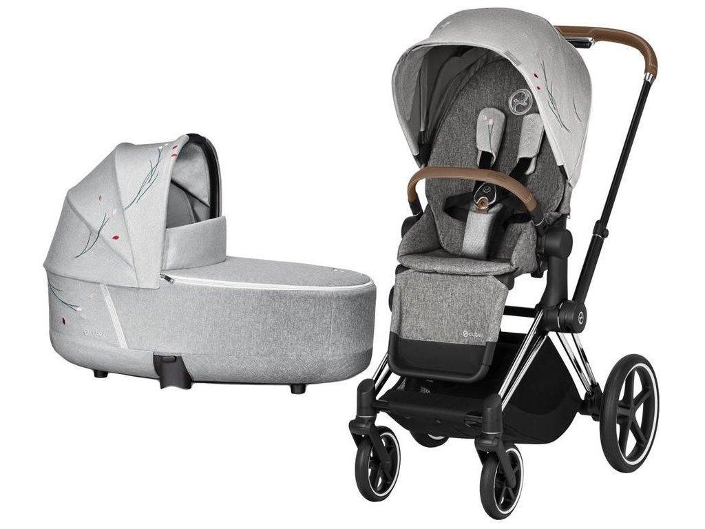 Kočárek CYBEX Priam Lux Seat Fashion Koi 2020 včetně korby, podvozek Priam - Chrome Brown
