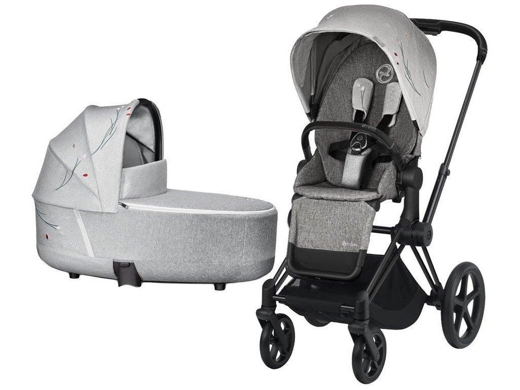 Kočárek CYBEX Priam Lux Seat Fashion Koi 2020 včetně korby, podvozek Priam - Matt Black