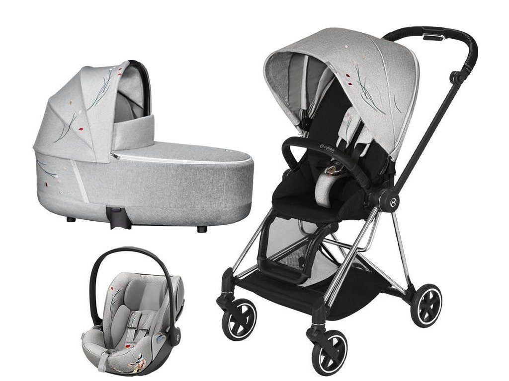 Kočárek CYBEX Set Mios Seat Pack Fashion Koi 2020 včetně autosedačky, podvozek Mios - Chrome Black