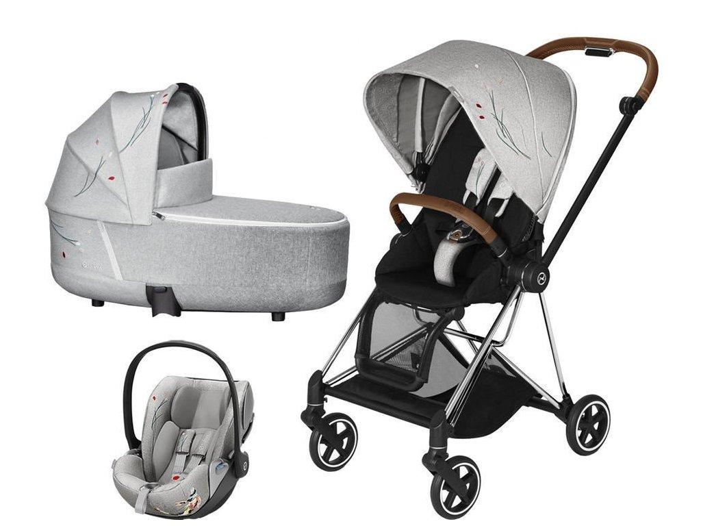 Kočárek CYBEX Set Mios Seat Pack Fashion Koi 2020 včetně autosedačky, podvozek Mios - Chrome Brown