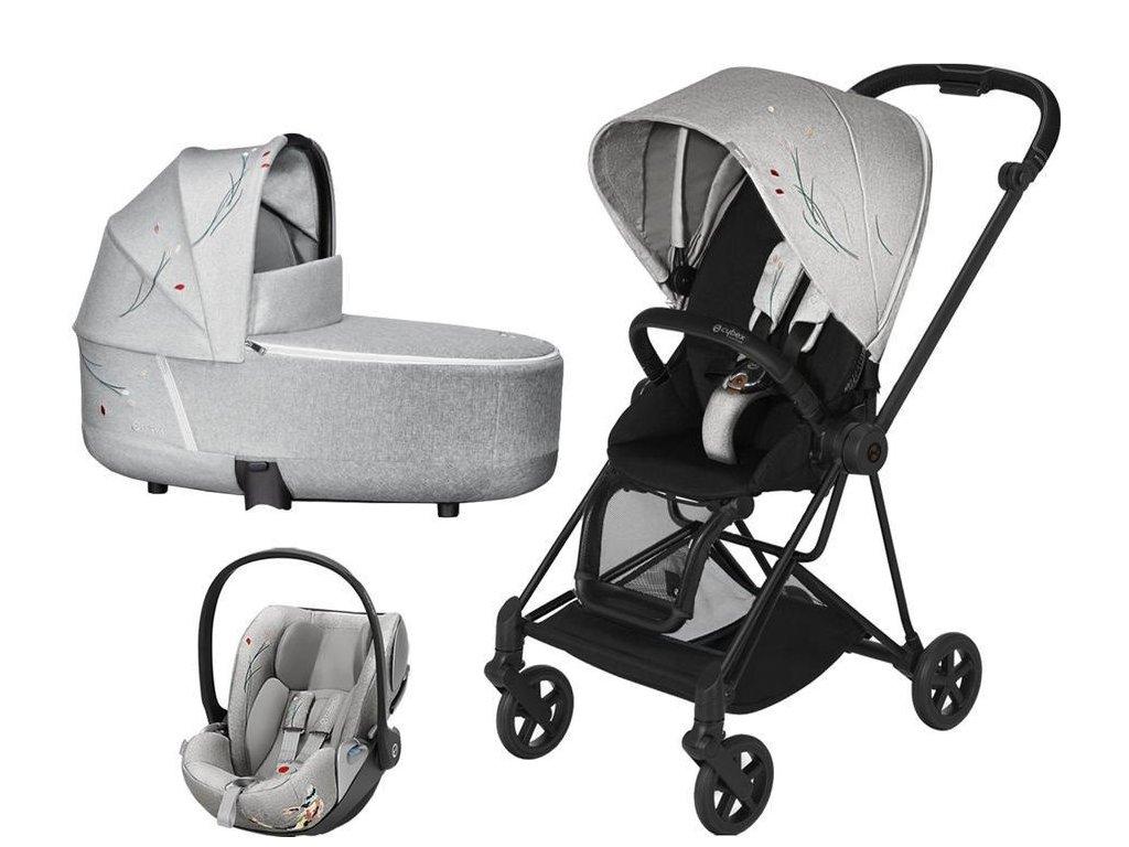 Kočárek CYBEX Set Mios Seat Pack Fashion Koi 2020 včetně autosedačky, podvozek Mios - Matt Black