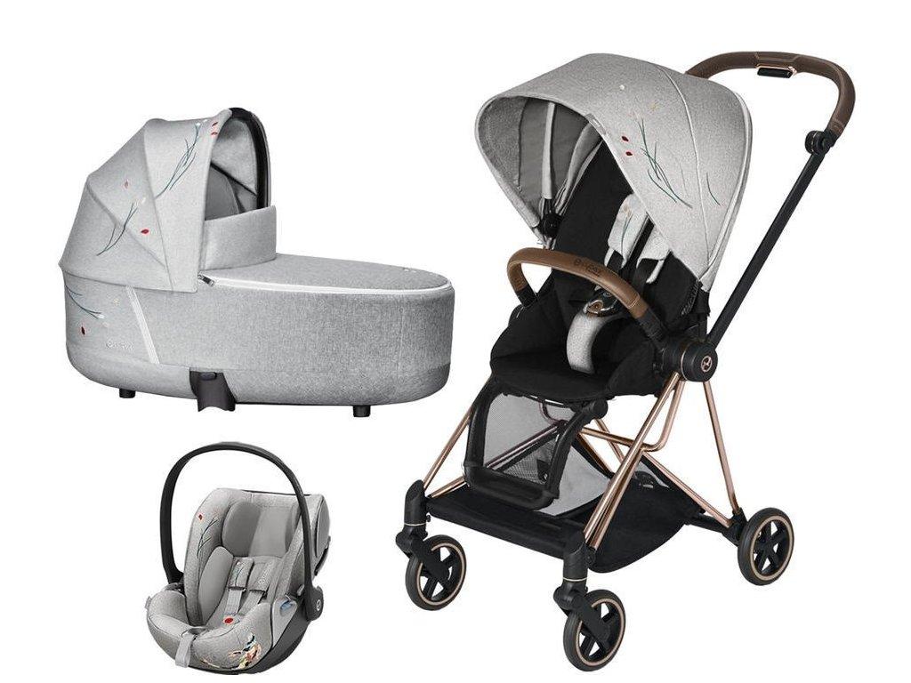 Kočárek CYBEX Set Mios Seat Pack Fashion Koi 2020 včetně autosedačky, podvozek Mios - Rosegold