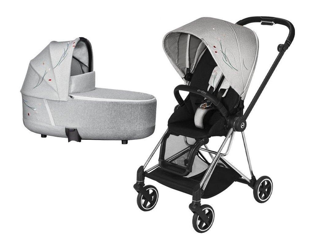 Kočárek CYBEX Mios Seat Pack Fashion Koi 2020 včetně korby, podvozek Mios - Chrome Black