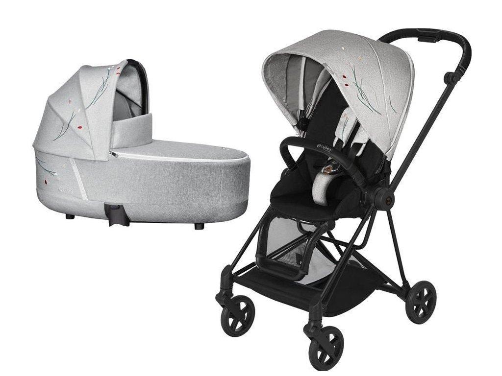 Kočárek CYBEX Mios Seat Pack Fashion Koi 2020 včetně korby, podvozek Mios - Matt Black