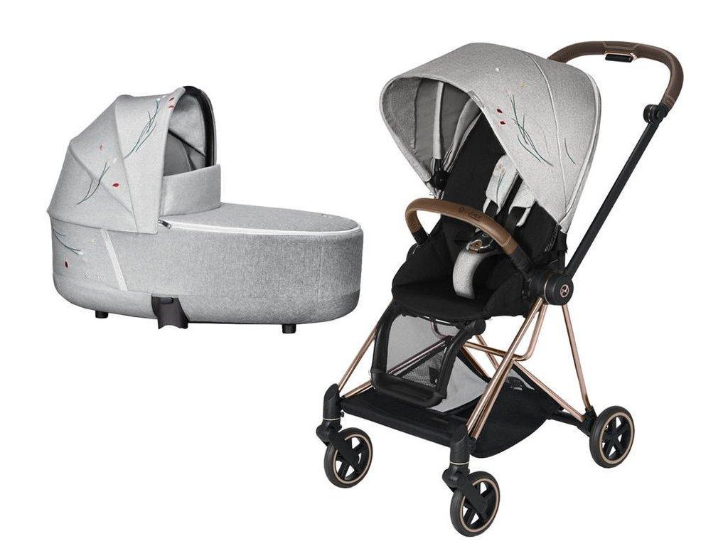 Kočárek CYBEX Mios Seat Pack Fashion Koi 2020 včetně korby, podvozek Mios - Rosegold