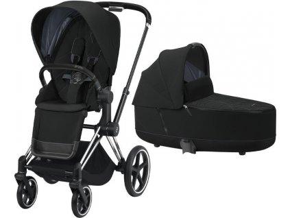 Kočárek CYBEX Priam Chrome Black Seat Pack 2021 včetně korby - Deep Black
