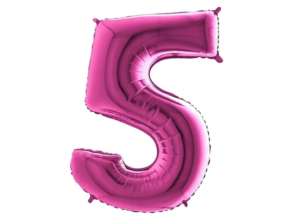 Balónek fóliový narozeniny číslo 5 růžové 82cm