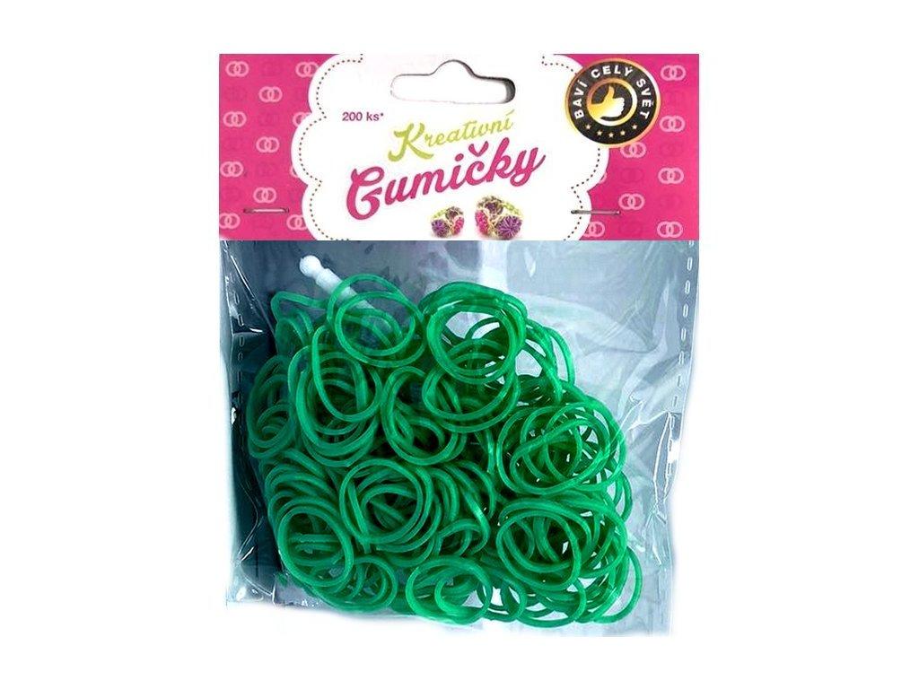 Loom Bands Pletací gumičky zelené 4, 200ks + háček