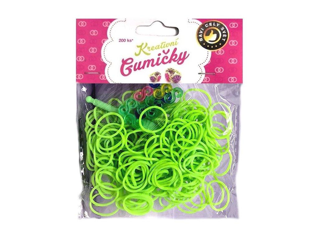 Loom Bands Pletací gumičky zelené 6, 200ks + háček