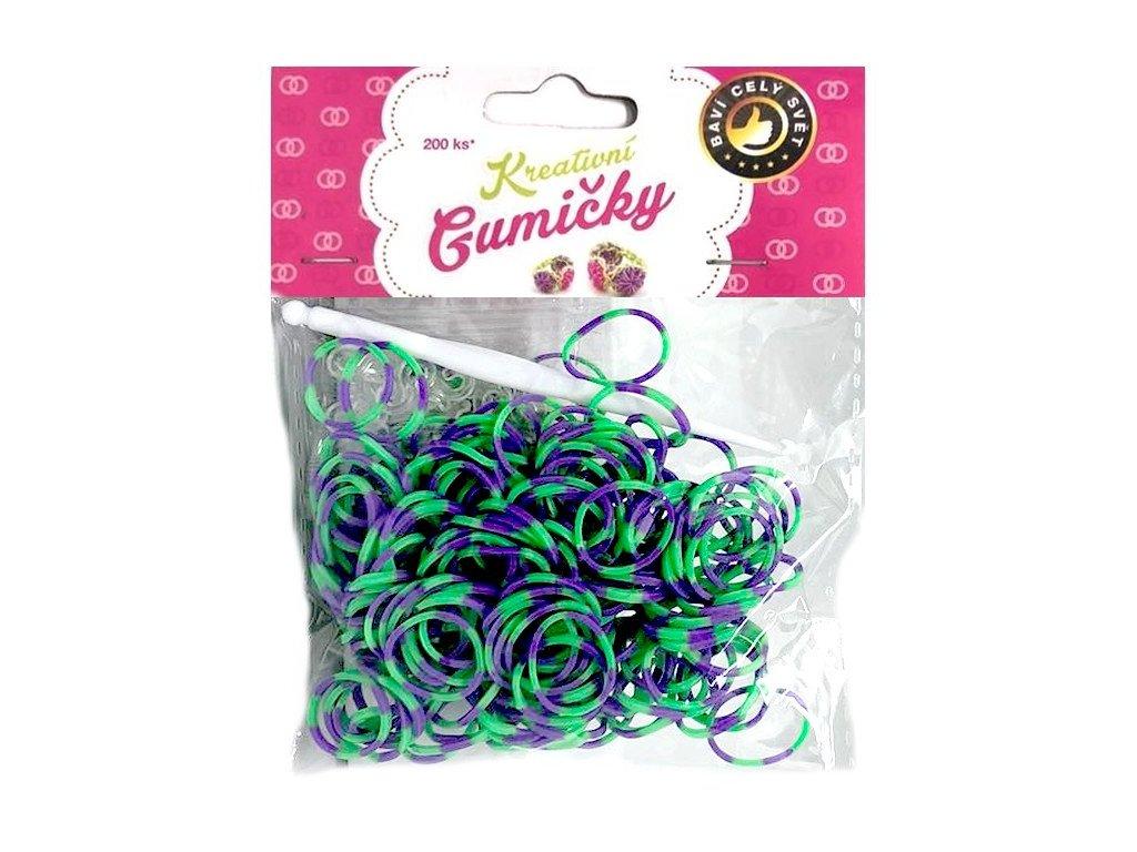 Loom Bands Pletací gumičky pruhované zeleno-fialové 200ks + háček