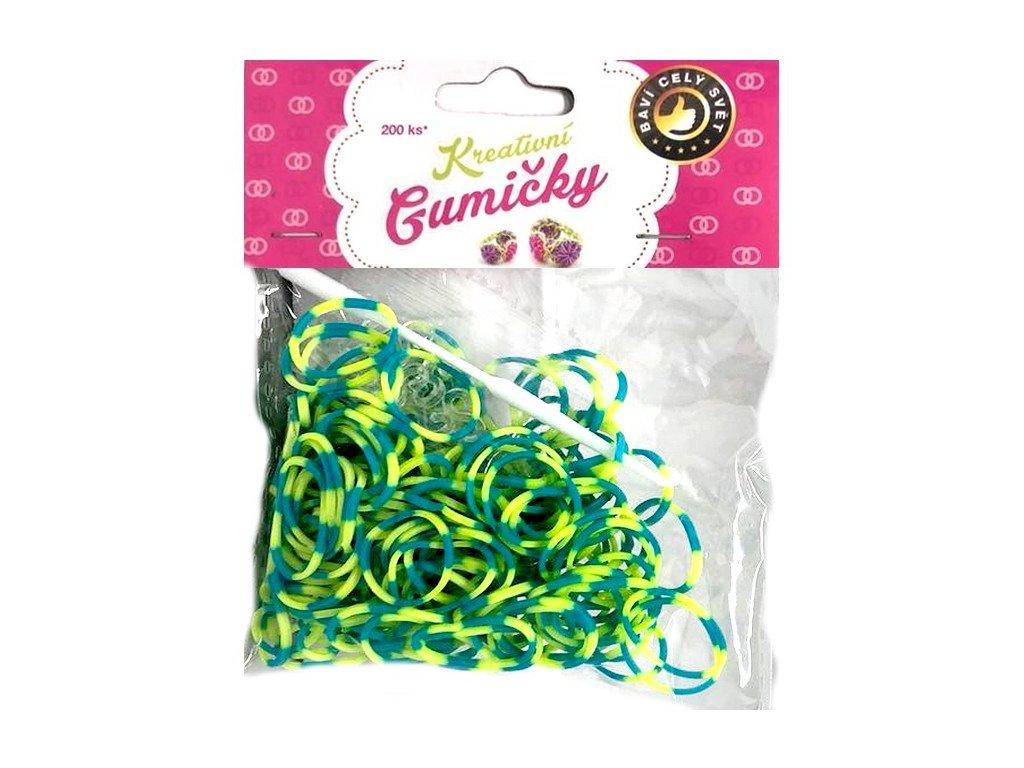 Loom Bands Pletací gumičky pruhované tm. zelene-žluté 200ks + háček