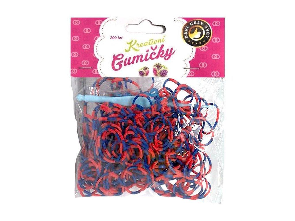 Loom Bands Pletací gumičky pruhované modro-červené 200ks + háček