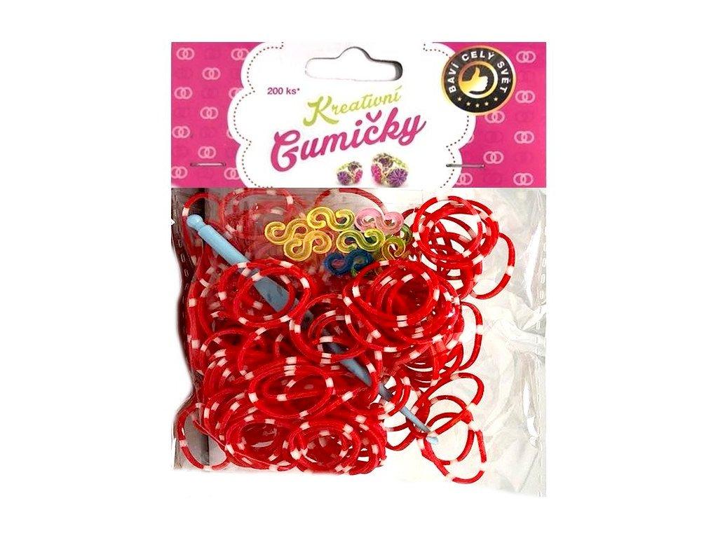 Loom Bands Pletací gumičky pruhované červeno-bílé 200ks + háček