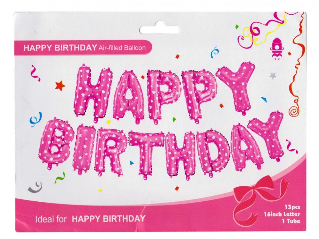 Nafukovací balonky Happy birthday 35 cm fóliový růžový