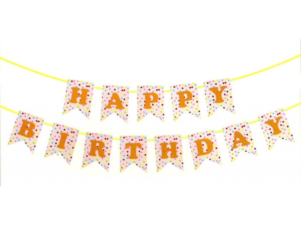 Papírová girlanda Happy Birthday 4 m (0200)