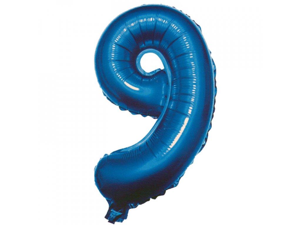 Fóliový balónek modrý číslo 9 - 82 cm (4514)