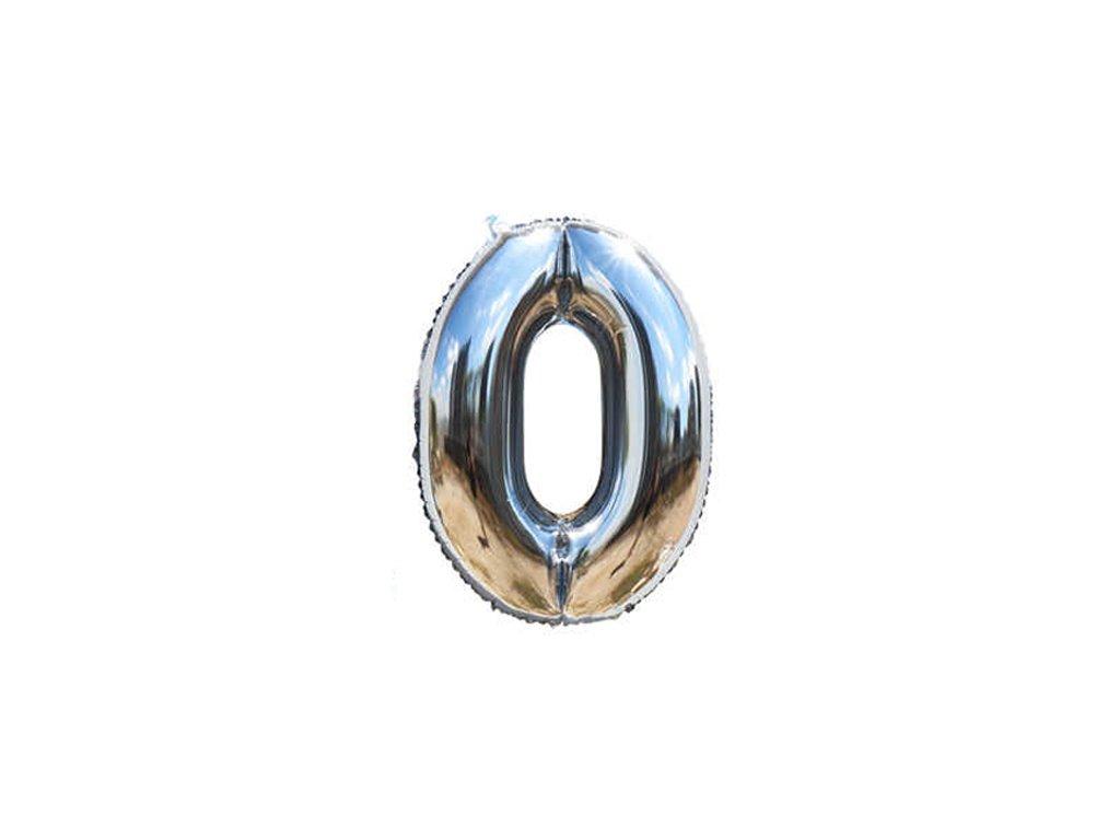 Fóliový balónek stříbrný číslo 0 - 82 cm (4514)