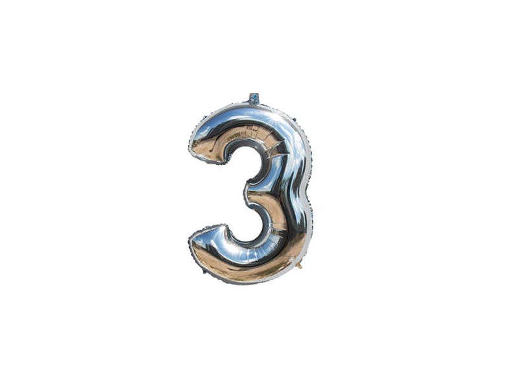 Fóliový balónek stříbrný číslo 3 - 82 cm (4514)