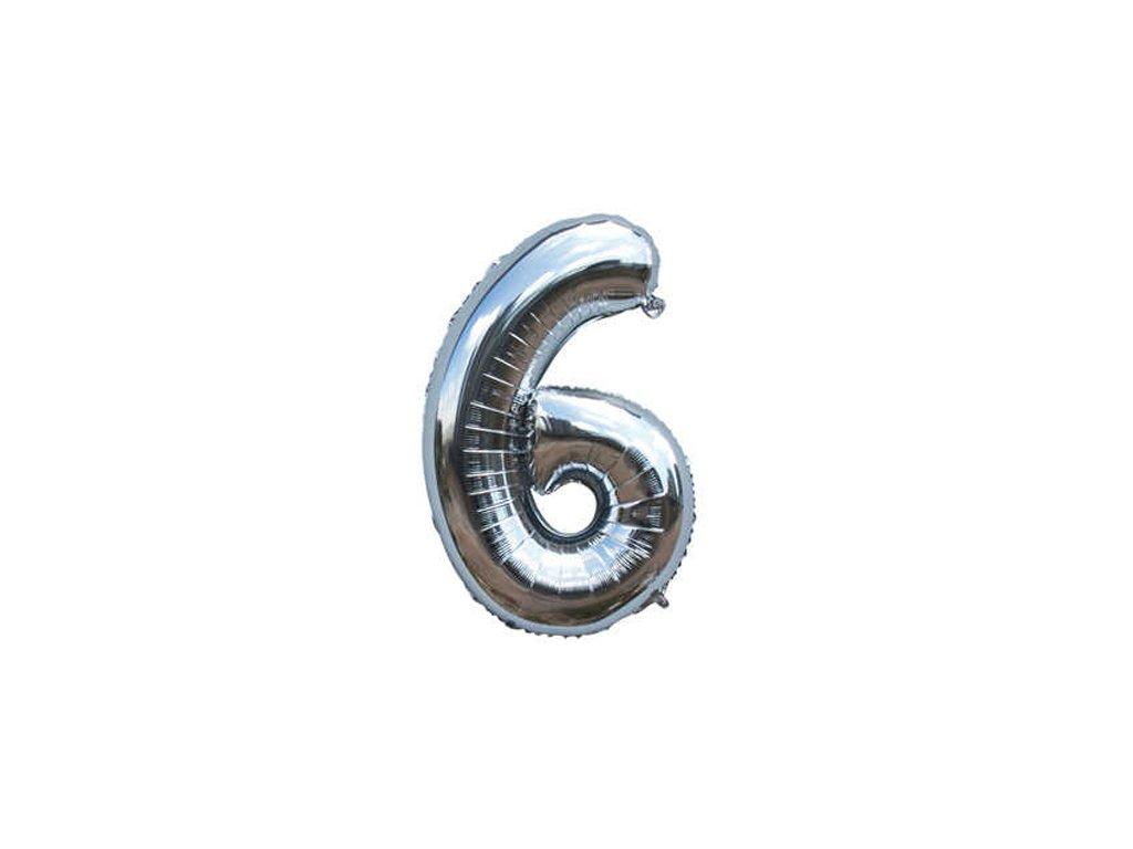 Fóliový balónek stříbrný číslo 6 - 82 cm (4514)