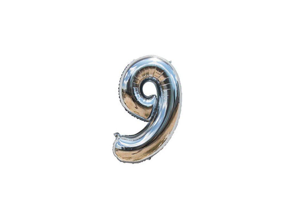 Fóliový balónek stříbrný číslo 9 - 82 cm (4514)