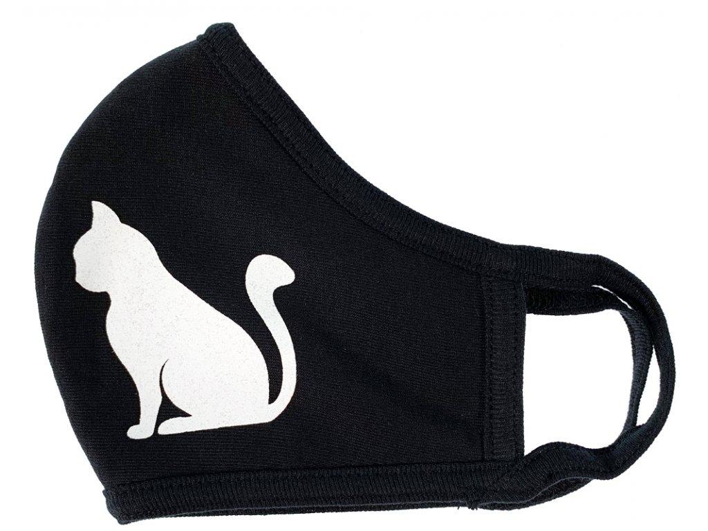 Rouška látková oboustranná 100% bavlna Kočka 1