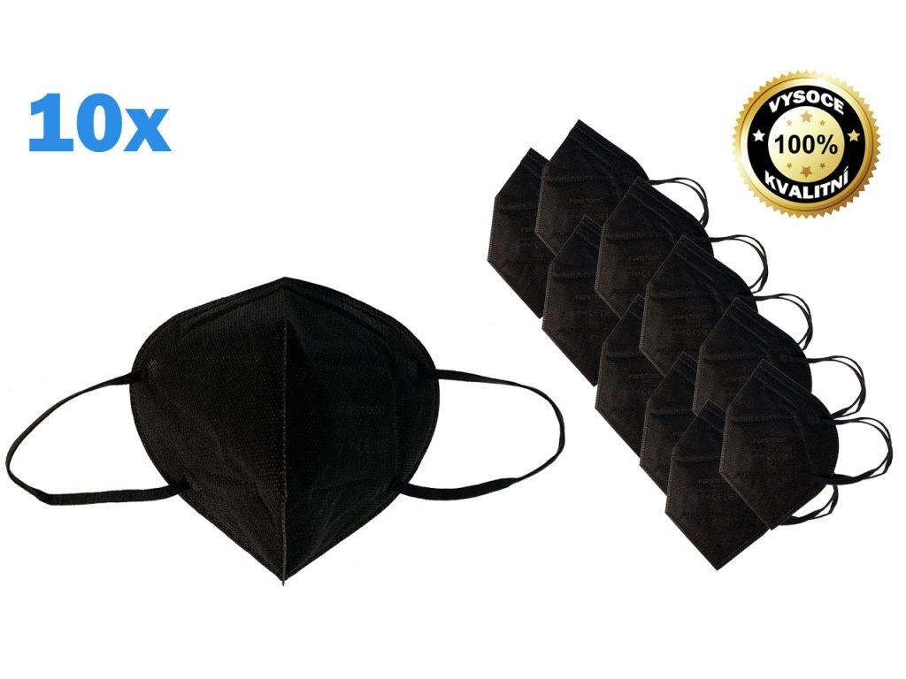 Respirátor FFP2 10 ks v černý (0334)