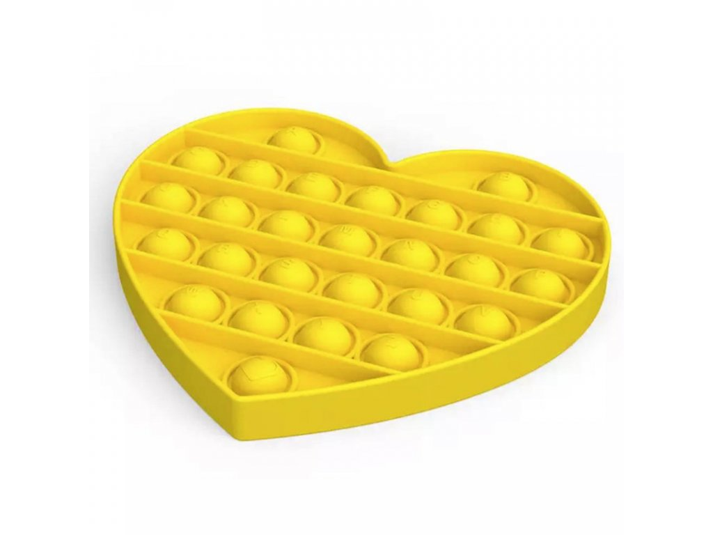 Antistresová hračka POP IT srdce žluté