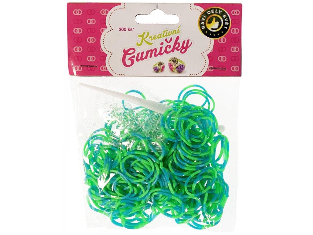(13) Loom Bands Pletací gumičky pruhované zeleno-modré 200ks + háček