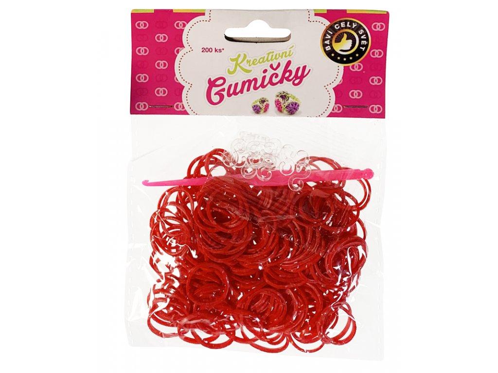 (37) Loom Bands Pletací gumičky červené 200ks + háček