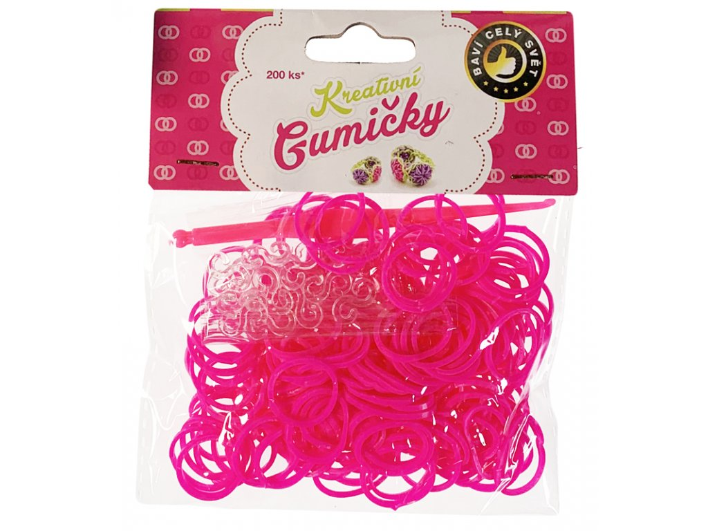 (42) Loom Bands Pletací gumičky růžové 200ks + háček
