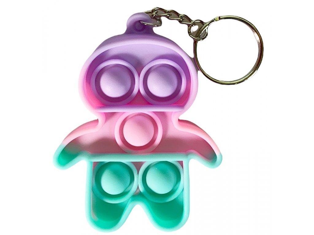 Antistresová klíčenka POP IT postavička barevná (327)