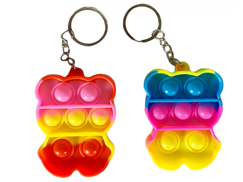Antistresová klíčenka POP IT medvídek barevný (333)