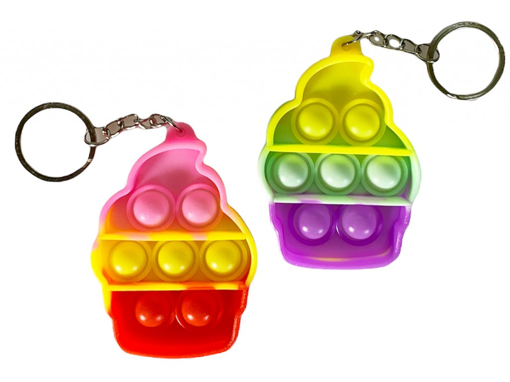 Antistresová klíčenka POP IT zmrzlina barevná (335)