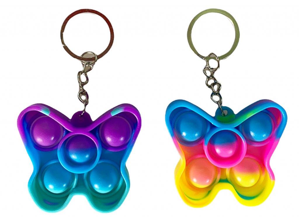 Antistresová klíčenka POP IT motýl barevný (338)