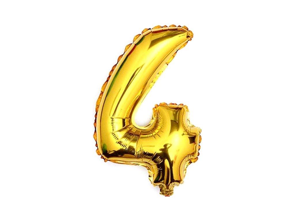 Balónek fóliový narozeniny číslo 4 zlatý 82cm